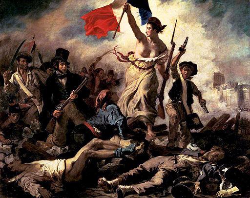 Friheten leder folket med puppene ute i det fri. Ill:Wikimedia/Delacroix
