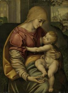 Både amming og synlige, erigerte brystvorter hos Guds mor. Ill:Girolamo Figino/Playing Futures