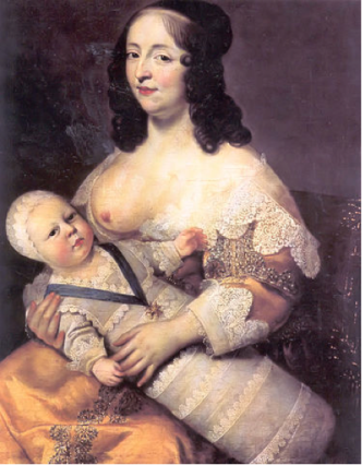 Ludvig XIV av Frankrike med ammen sin. Ill:Charles Beaubrun/Wikipedia
