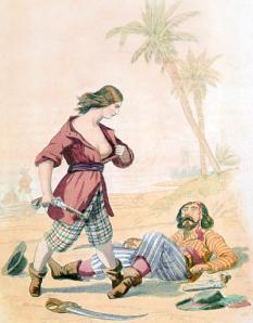 Sjørøver Mary Read viser tydelig at duden har blitt slått av ei jente. Ill: Alexandre Debelle/Wikipedia