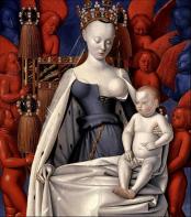 En meget stilisert og virkelighetsfjern pupp. På tross av at modellen svinset toppløs rundt på slottet sammen med de andre fine damene. Ill: Jean Fouquet/Wikipedia